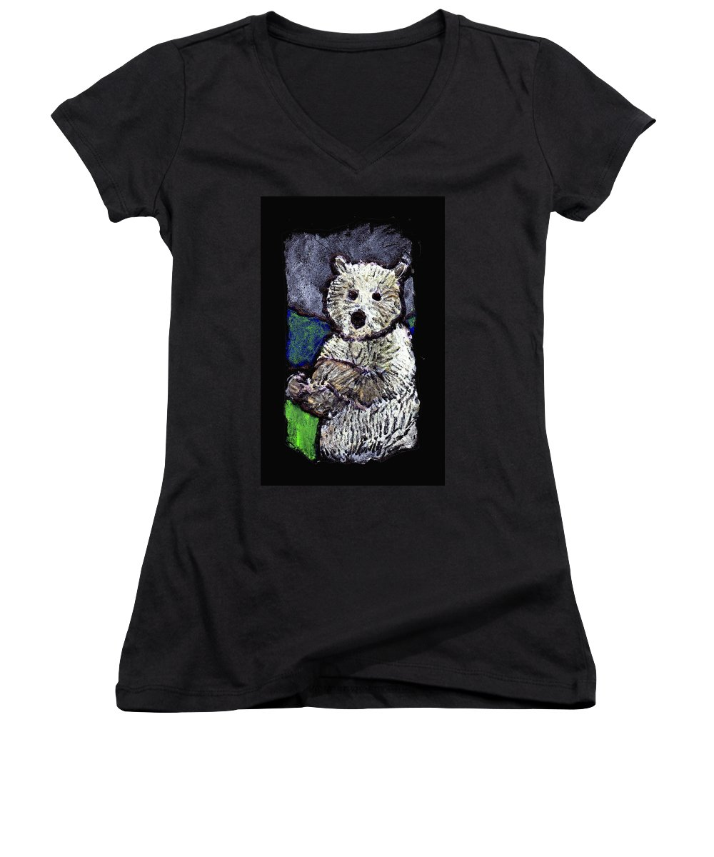 Bear Women's V-Neck T-Shirt featuring the painting Bearly Scary by Wayne Potrafka