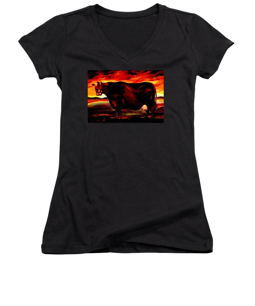 Farm Animal Women's V-Neck T-Shirt featuring the painting Beef Holocaust IIi by Mark Cawood