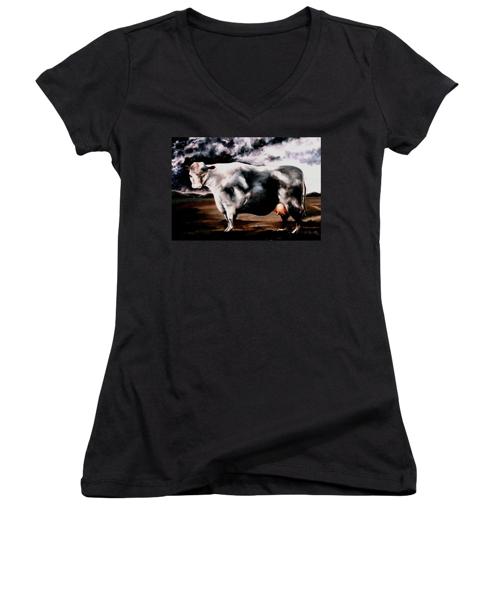 Cow Women's V-Neck (Athletic Fit) featuring the painting Beef Holocaust Iv by Mark Cawood