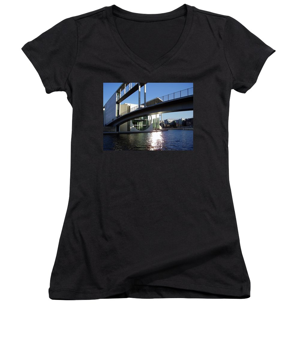 Marie-elisabeth-lueders Women's V-Neck T-Shirt featuring the photograph Berlin by Flavia Westerwelle