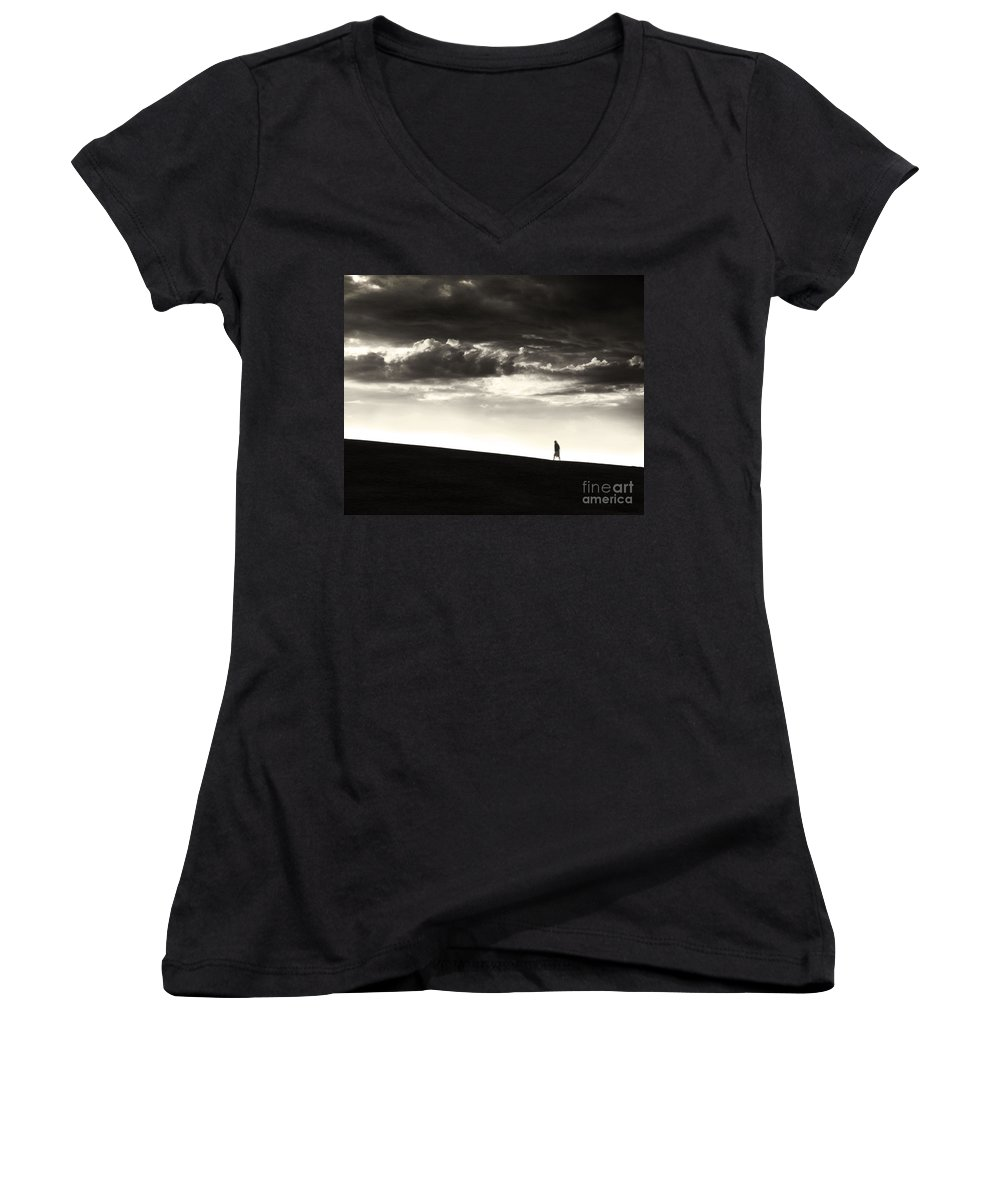 Man Women's V-Neck T-Shirt featuring the photograph Between Living And Dying by Dana DiPasquale