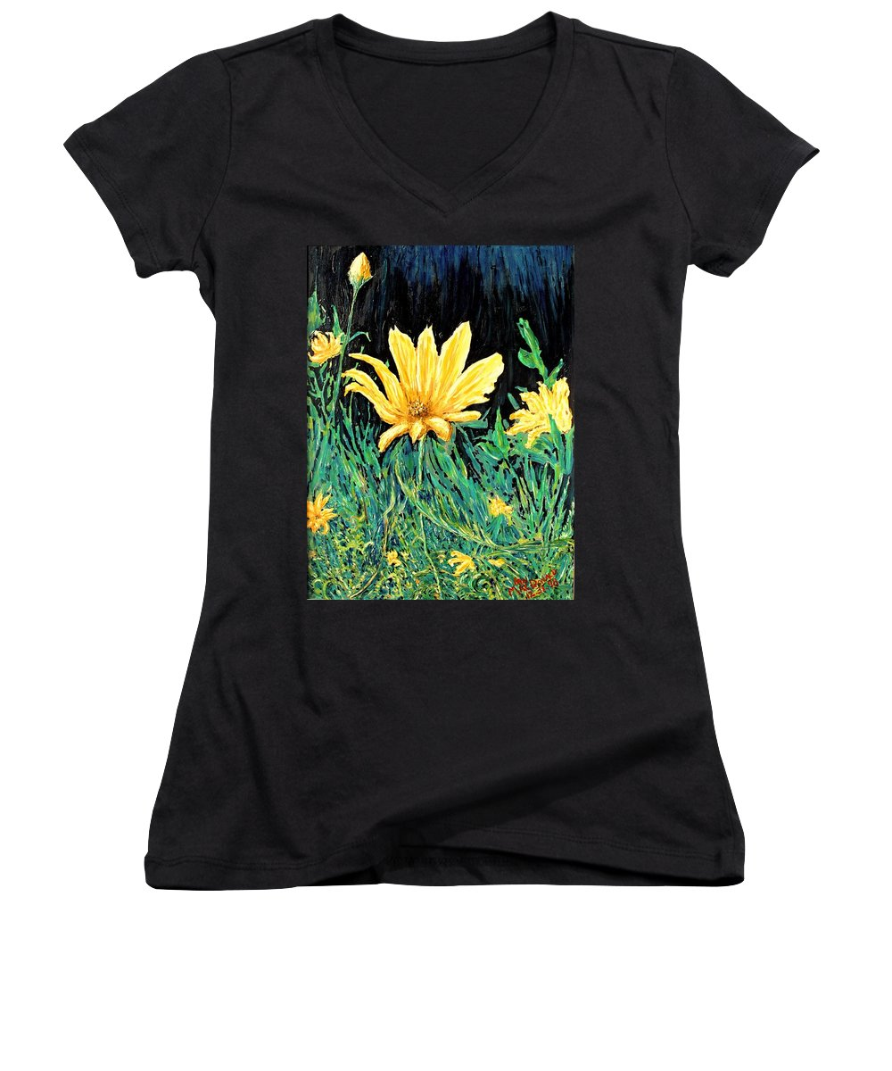 Flower Women's V-Neck T-Shirt featuring the painting Big Yellow by Ian MacDonald