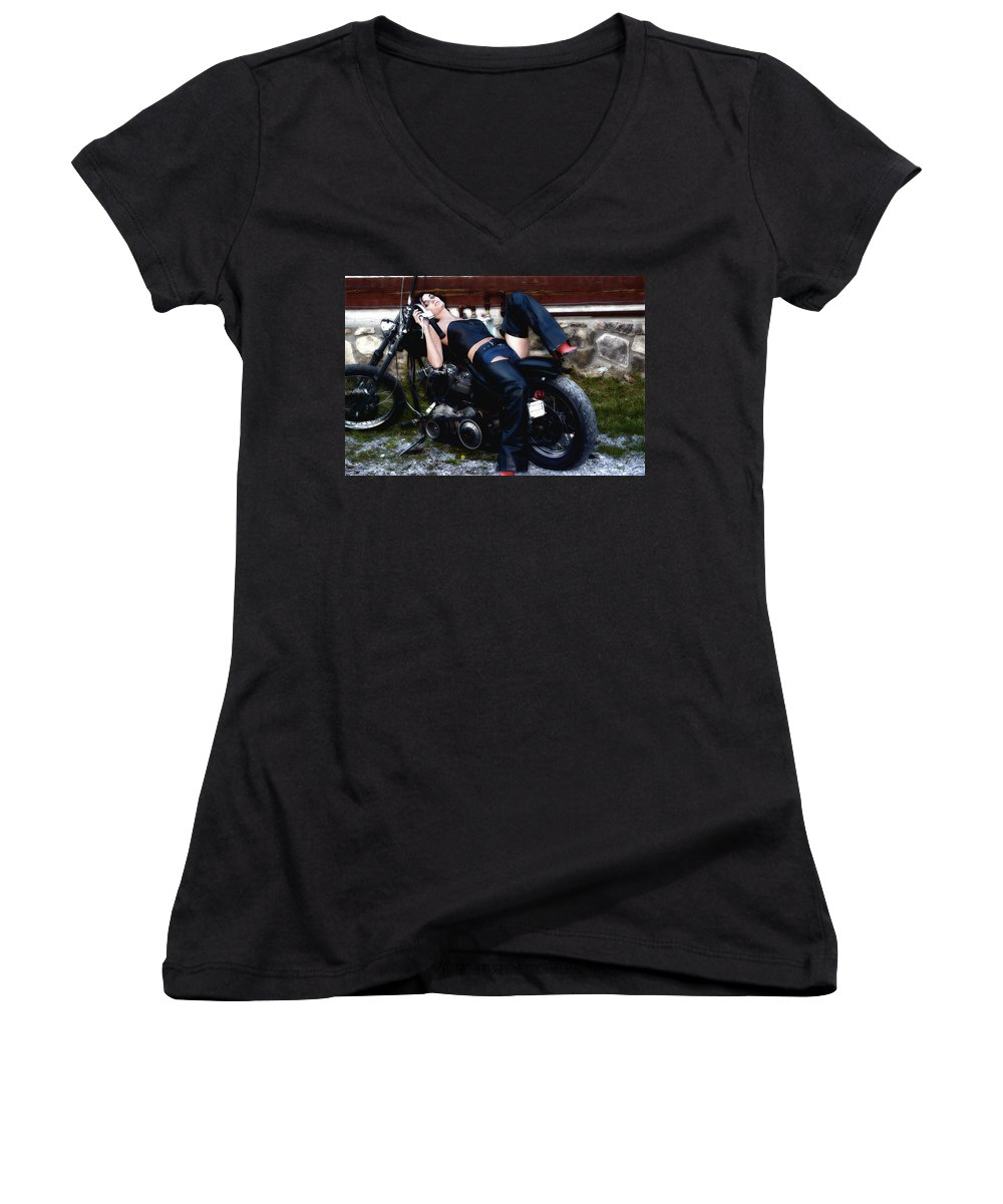 Clay Women's V-Neck (Athletic Fit) featuring the photograph Bikes And Babes by Clayton Bruster