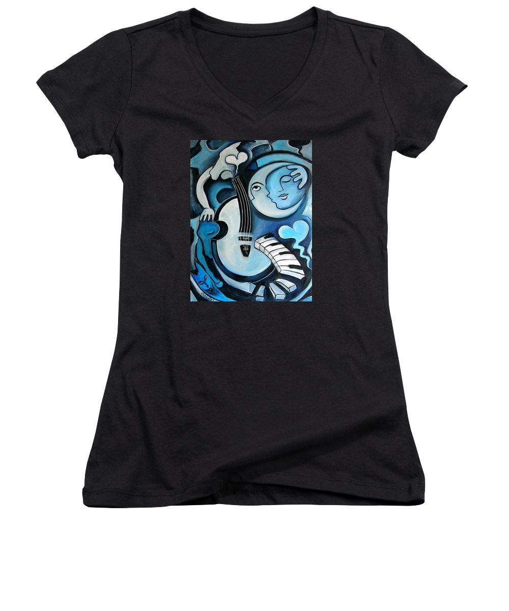 Abstract Women's V-Neck T-Shirt featuring the painting Black And Bleu by Valerie Vescovi