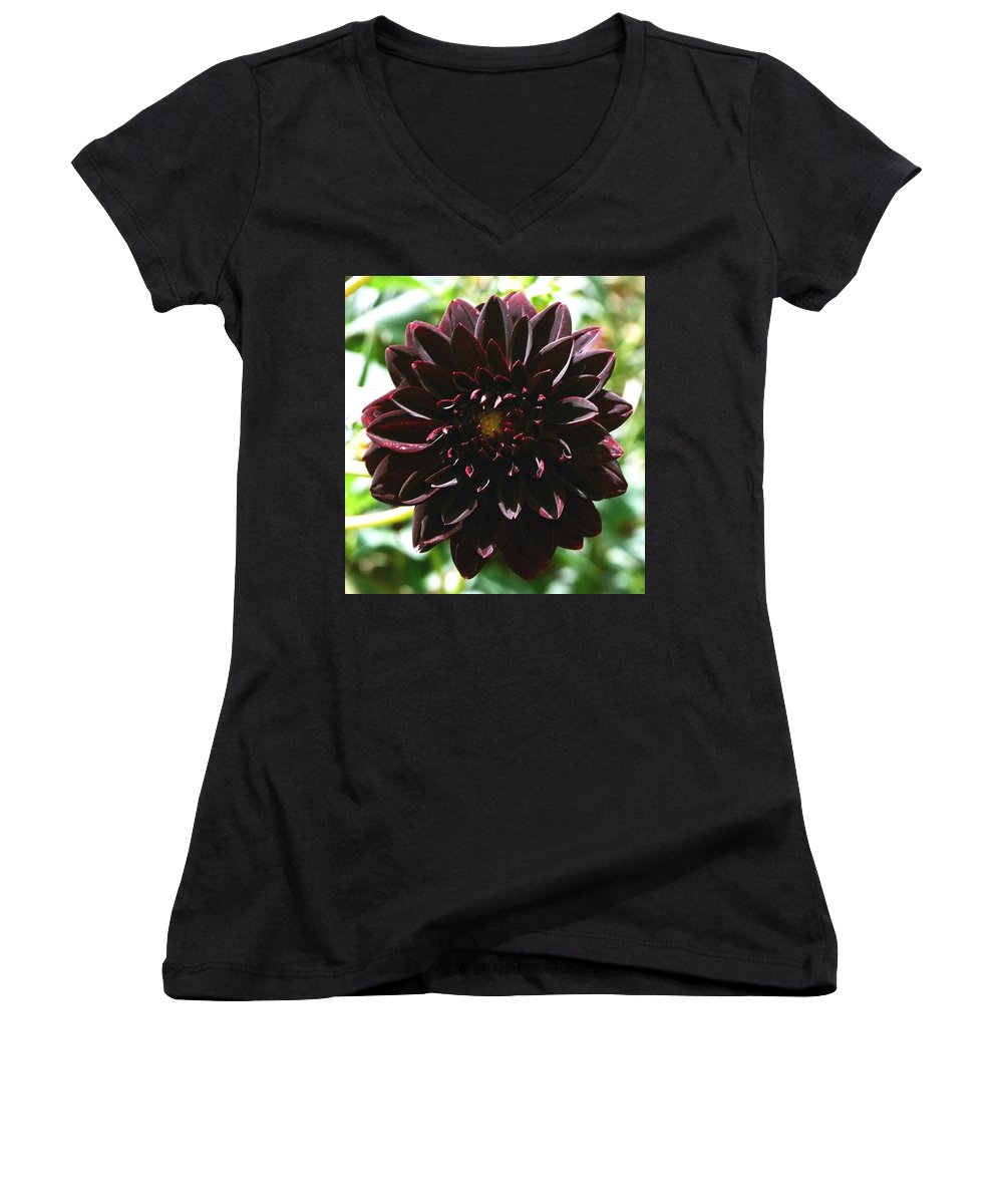 Flower Women's V-Neck (Athletic Fit) featuring the photograph Black Dalia by Dean Triolo
