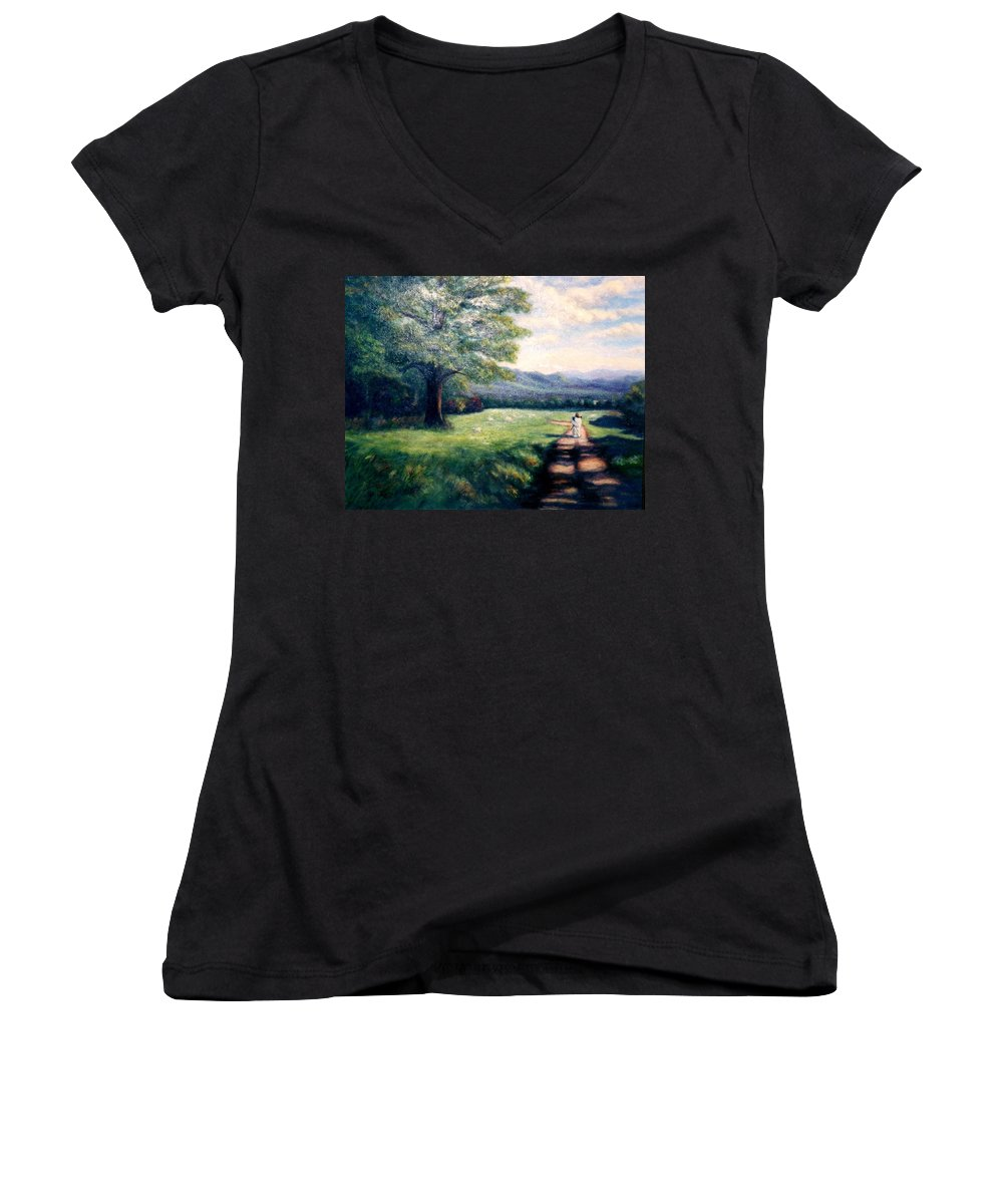 Christian Women's V-Neck (Athletic Fit) featuring the painting Black Sheep by Gail Kirtz