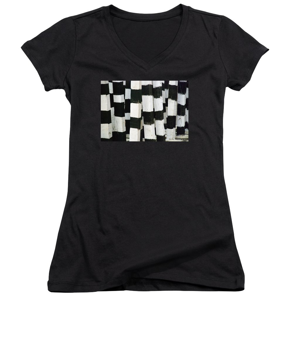 Skip Hunt Women's V-Neck T-Shirt featuring the photograph Blanco Y Negro by Skip Hunt