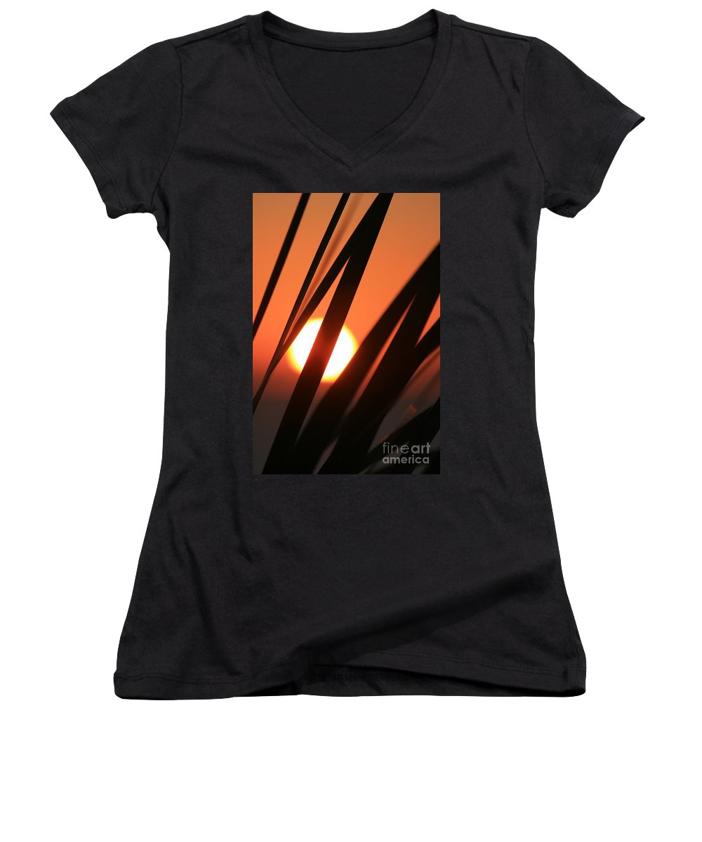 Sun Women's V-Neck (Athletic Fit) featuring the photograph Blazing Sunset And Grasses by Nadine Rippelmeyer