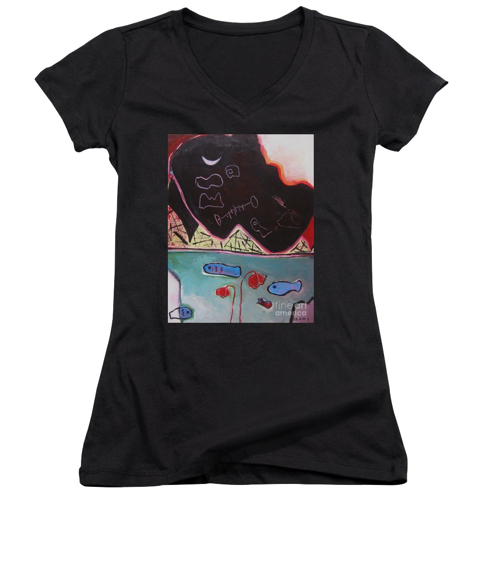 Blow Me Down Painting Women's V-Neck T-Shirt featuring the painting Blow Me Down11 by Seon-Jeong Kim
