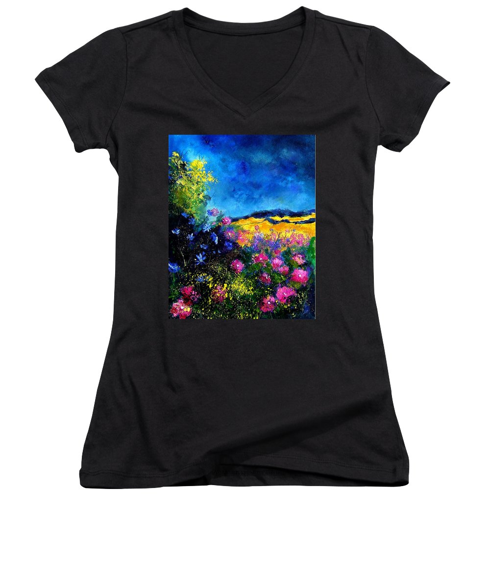Landscape Women's V-Neck T-Shirt featuring the painting Blue And Pink Flowers by Pol Ledent