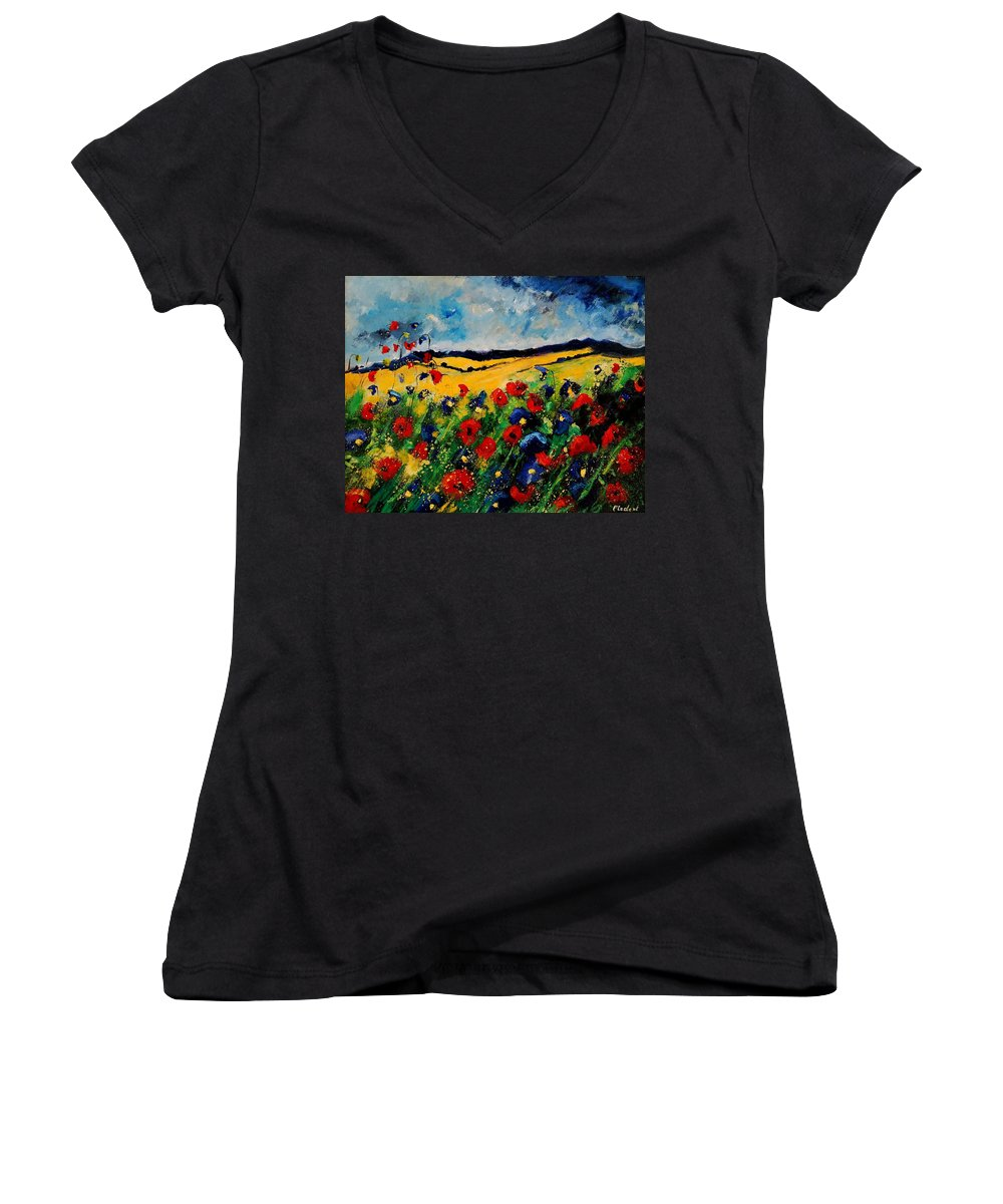 Poppies Women's V-Neck (Athletic Fit) featuring the painting Blue And Red Poppies 45 by Pol Ledent