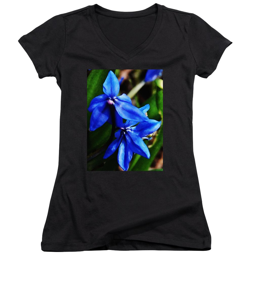 Digital Photo Women's V-Neck T-Shirt featuring the photograph Blue Floral by David Lane