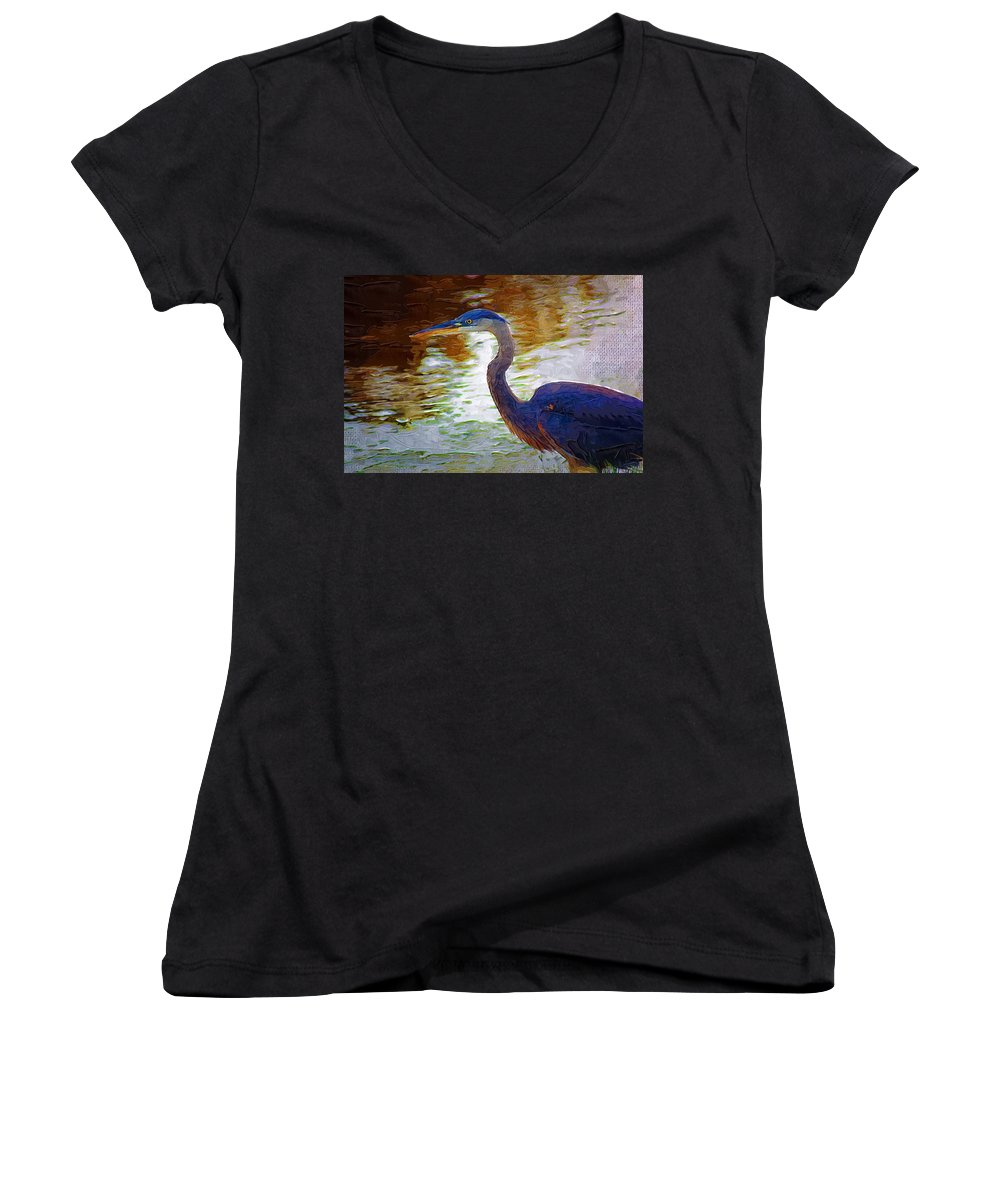 Blue Heron Women's V-Neck (Athletic Fit) featuring the photograph Blue Heron 2 by Donna Bentley