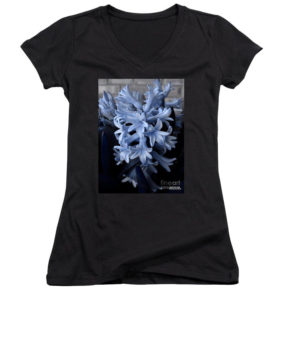 Blue Women's V-Neck T-Shirt featuring the photograph Blue Hyacinth by Shelley Jones