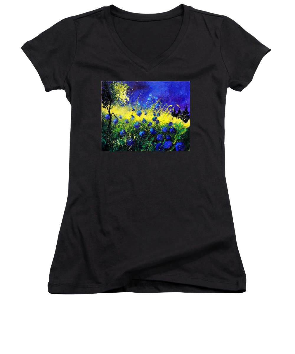 Flowers Women's V-Neck T-Shirt featuring the painting Blue Poppies by Pol Ledent