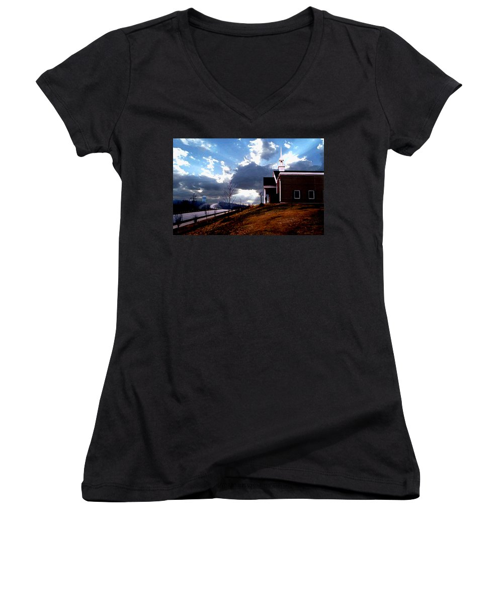 Landscape Women's V-Neck (Athletic Fit) featuring the photograph Blue Springs Landscape by Steve Karol