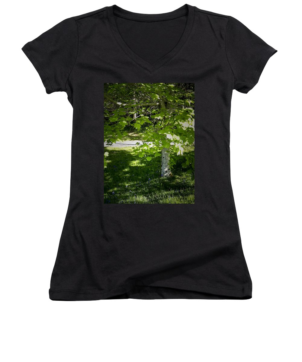 Irish Women's V-Neck (Athletic Fit) featuring the photograph Bluebells In Killarney National Park Ireland by Teresa Mucha