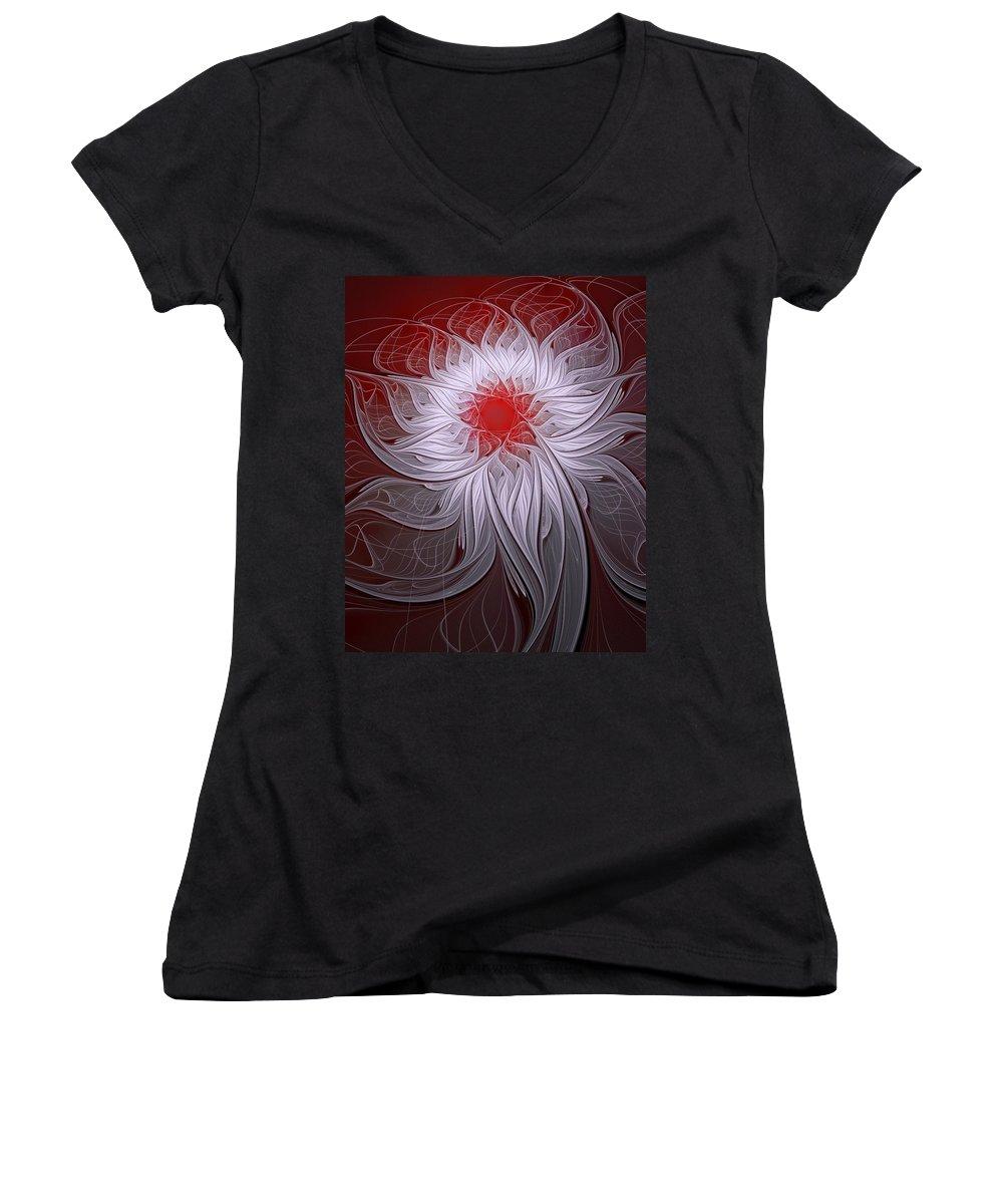 Digital Art Women's V-Neck T-Shirt featuring the digital art Blush by Amanda Moore