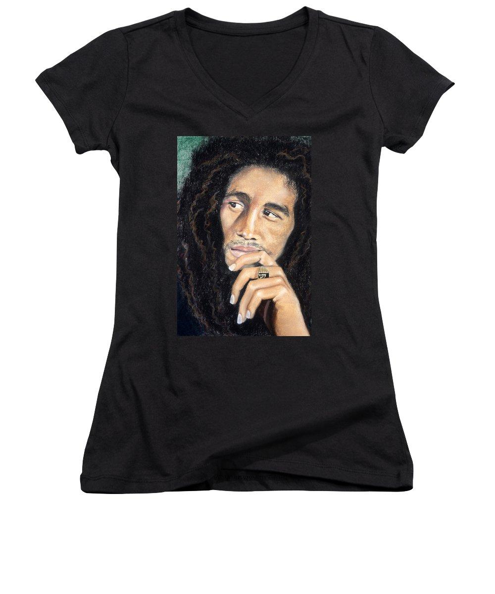 Bob Marley Women's V-Neck featuring the drawing Bob Marley by Ashley Kujan