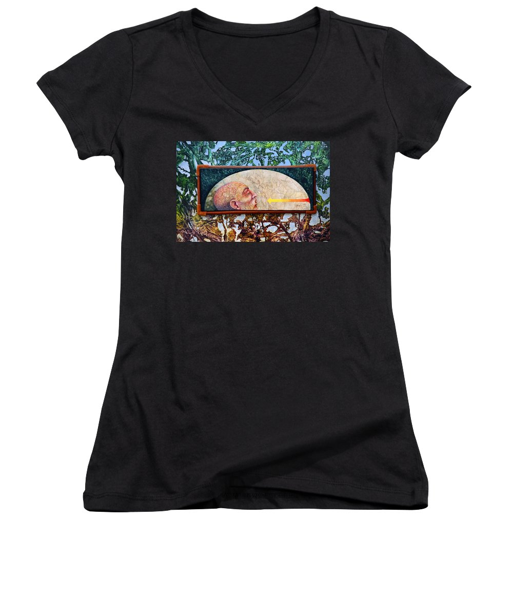 Surrealism Fantasy Fantastic Realism Decalcomania Otto Rapp The Mystic Women's V-Neck T-Shirt featuring the painting Bogomil Rising by Otto Rapp