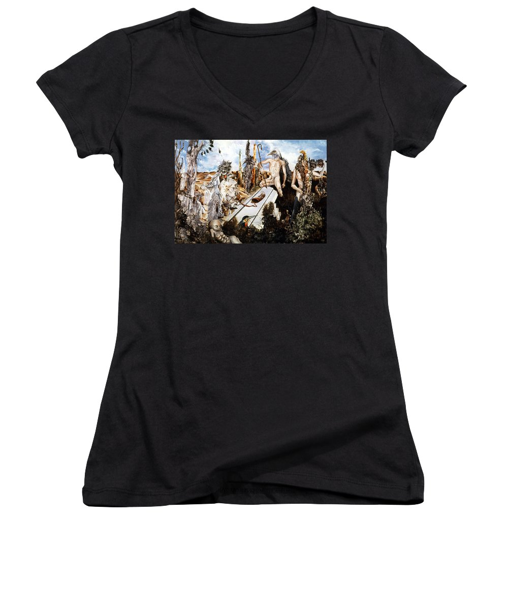 Surrealism Women's V-Neck T-Shirt featuring the painting Bogomils Court by Otto Rapp