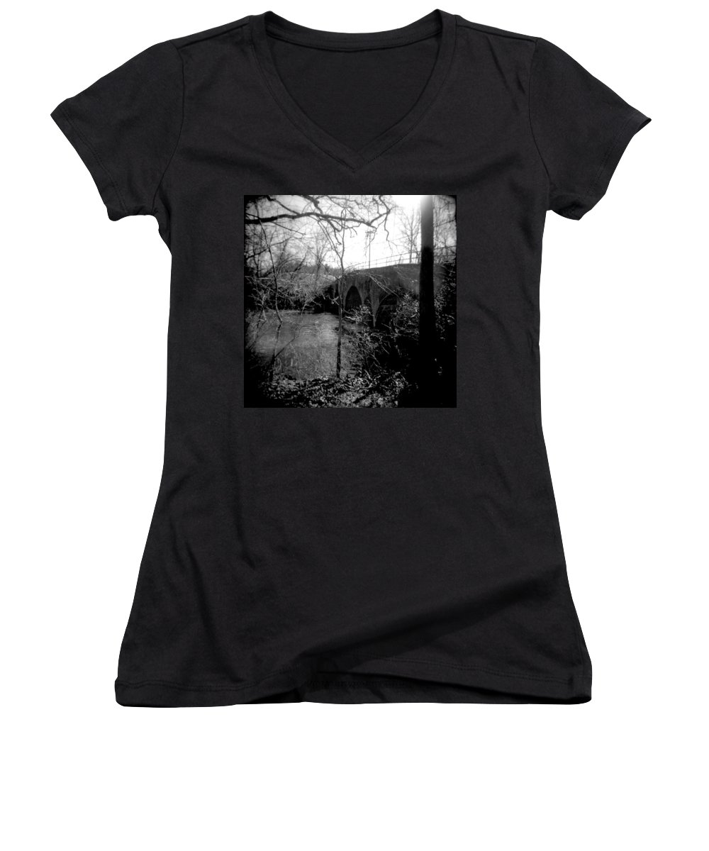 Photograph Women's V-Neck (Athletic Fit) featuring the photograph Boiling Springs Bridge by Jean Macaluso