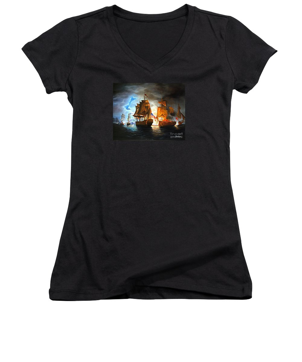 Naval Battle Women's V-Neck T-Shirt featuring the painting Bonhomme Richard Engaging The Serapis In Battle by Paul Walsh