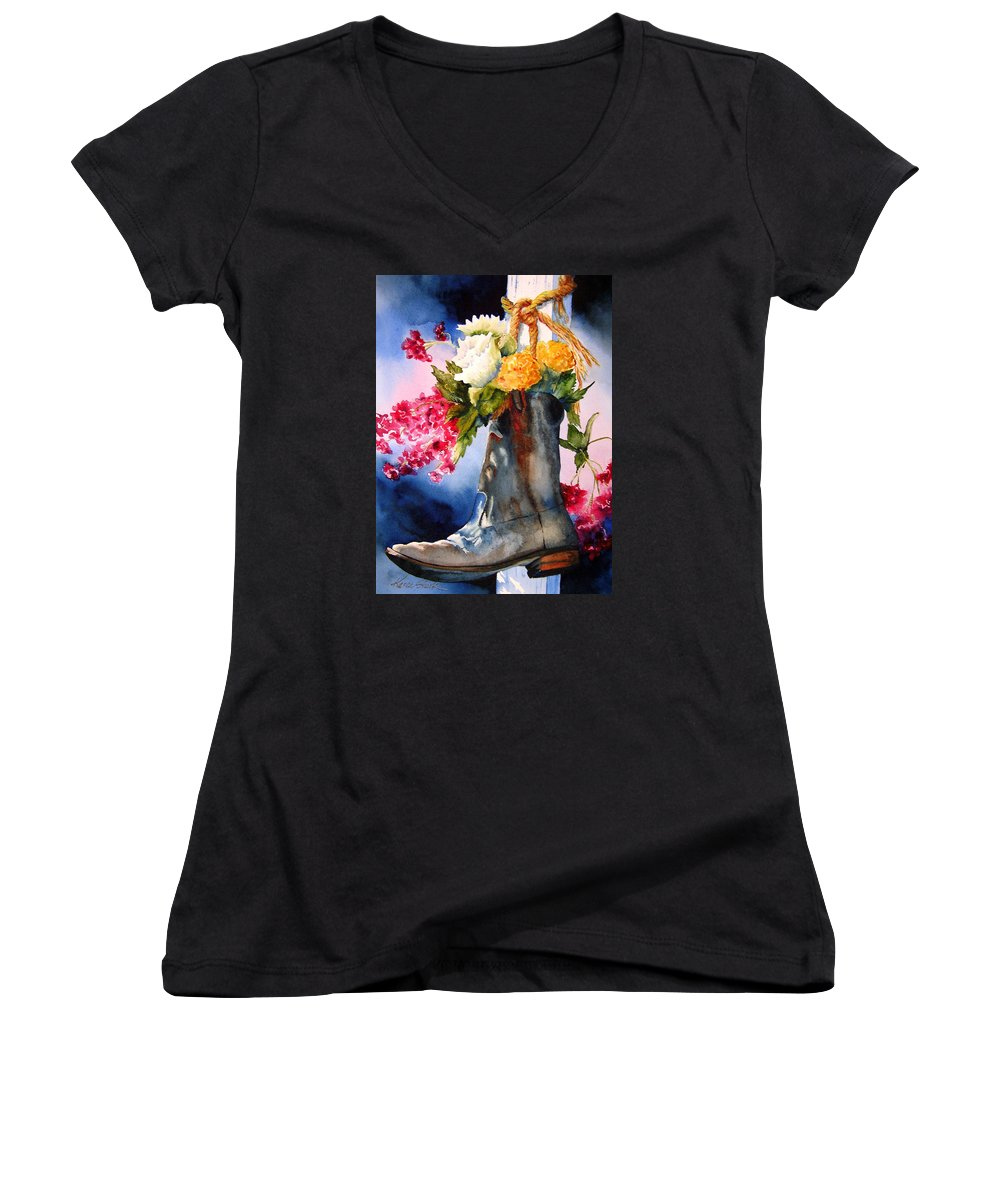 Cowboy Women's V-Neck T-Shirt featuring the painting Boot Bouquet by Karen Stark