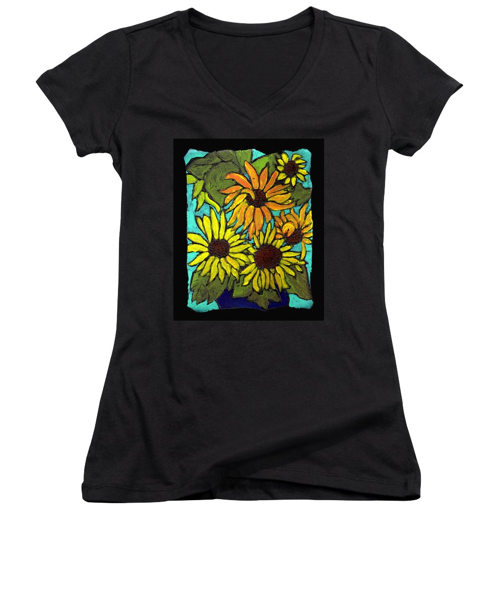 Flowers Women's V-Neck (Athletic Fit) featuring the painting Boquet Of Sunshine by Wayne Potrafka