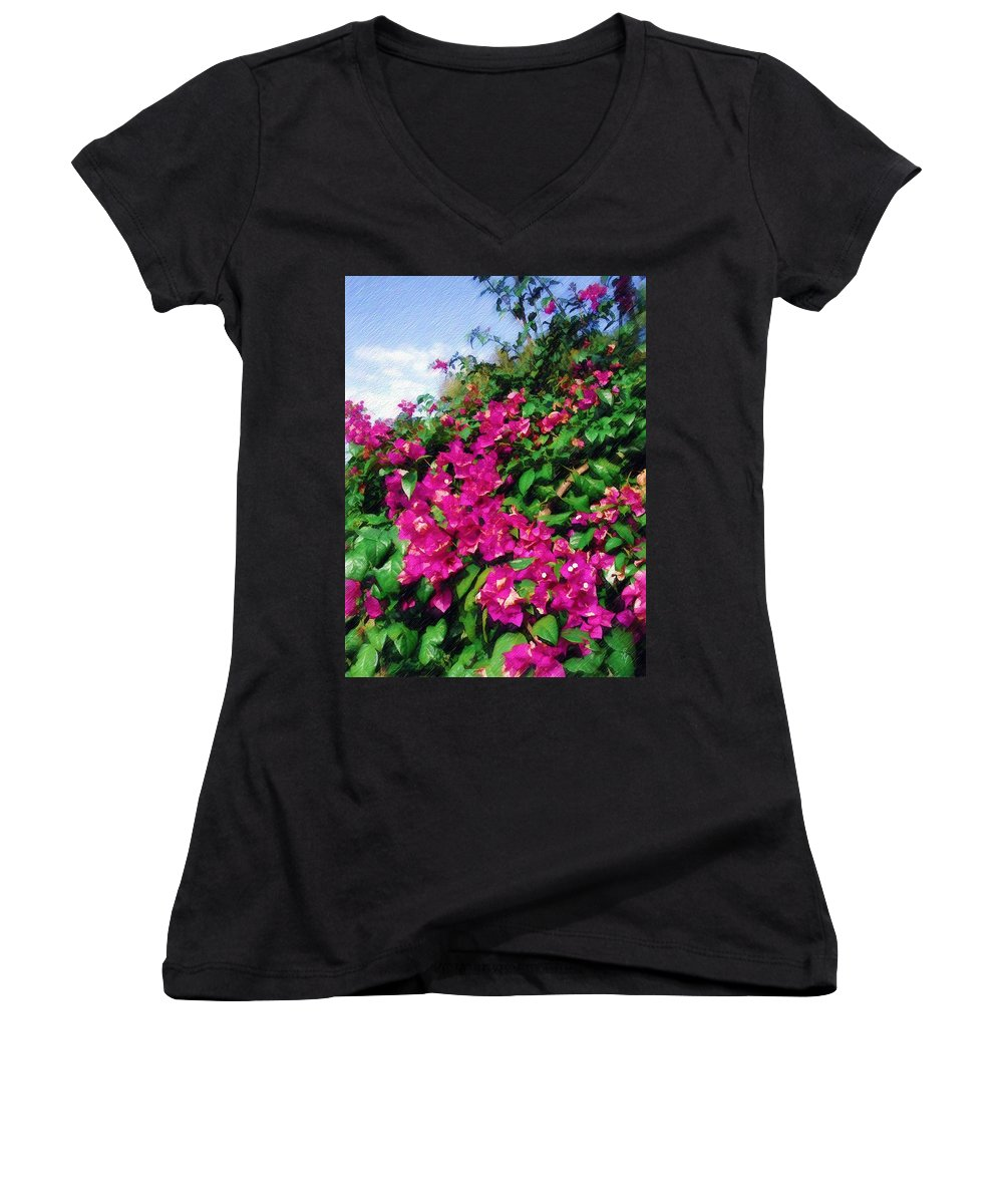 Bougainvillea Women's V-Neck T-Shirt featuring the photograph Bougainvillea by Sandy MacGowan