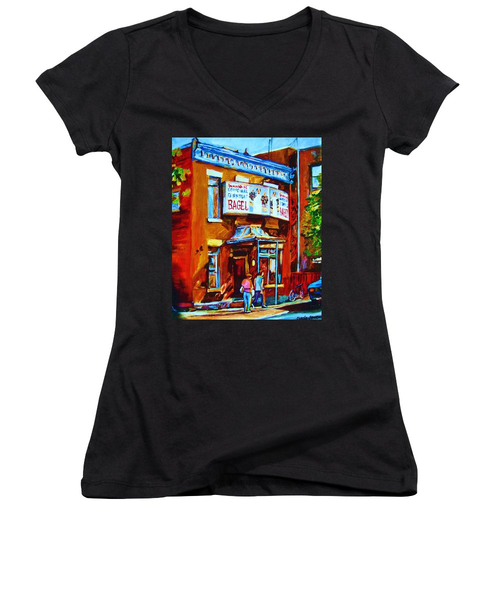 Fairmount Bagel Women's V-Neck T-Shirt featuring the painting Breakfast At The Bagel Cafe by Carole Spandau