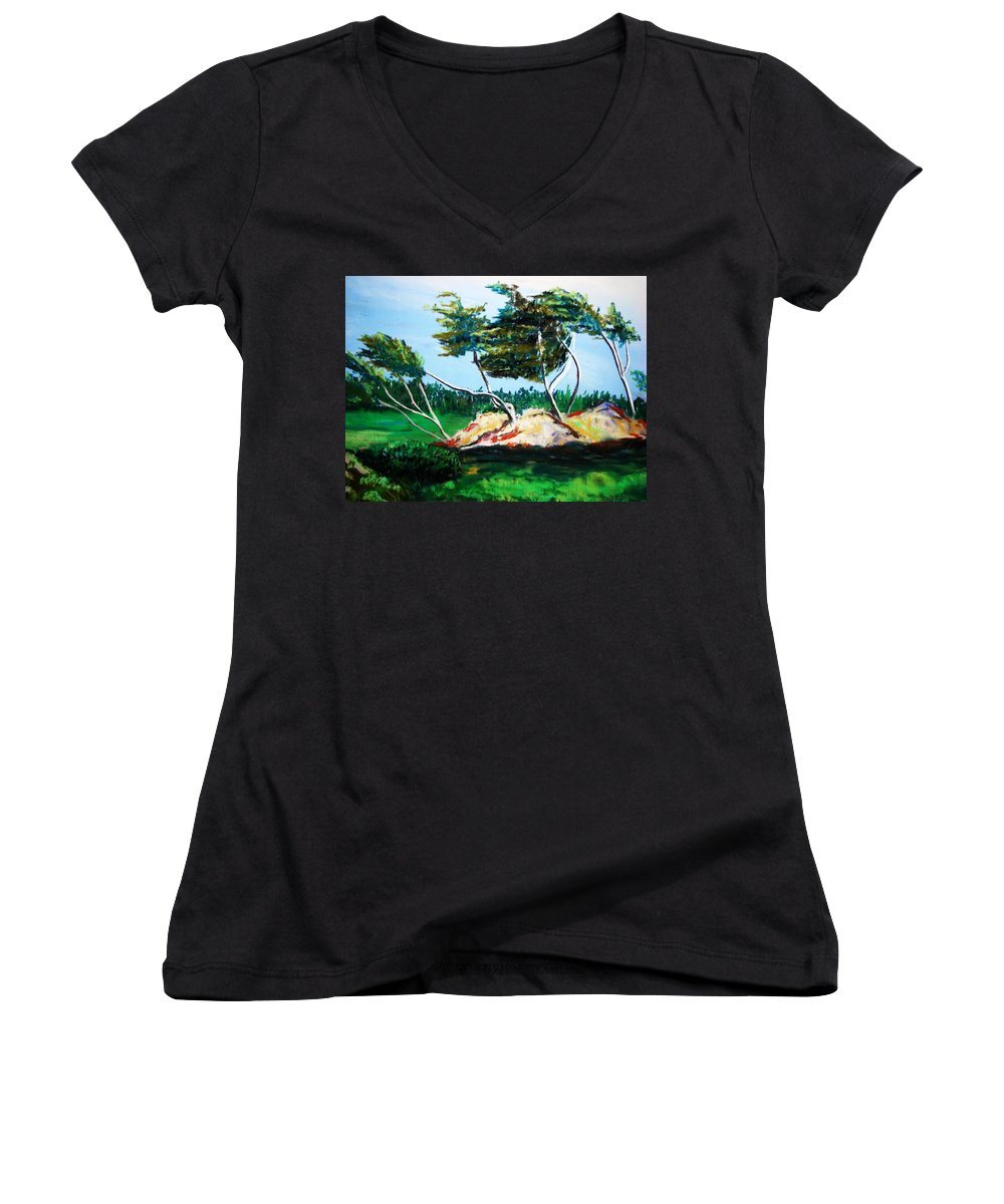 California Women's V-Neck T-Shirt featuring the painting Breezy by Melinda Etzold