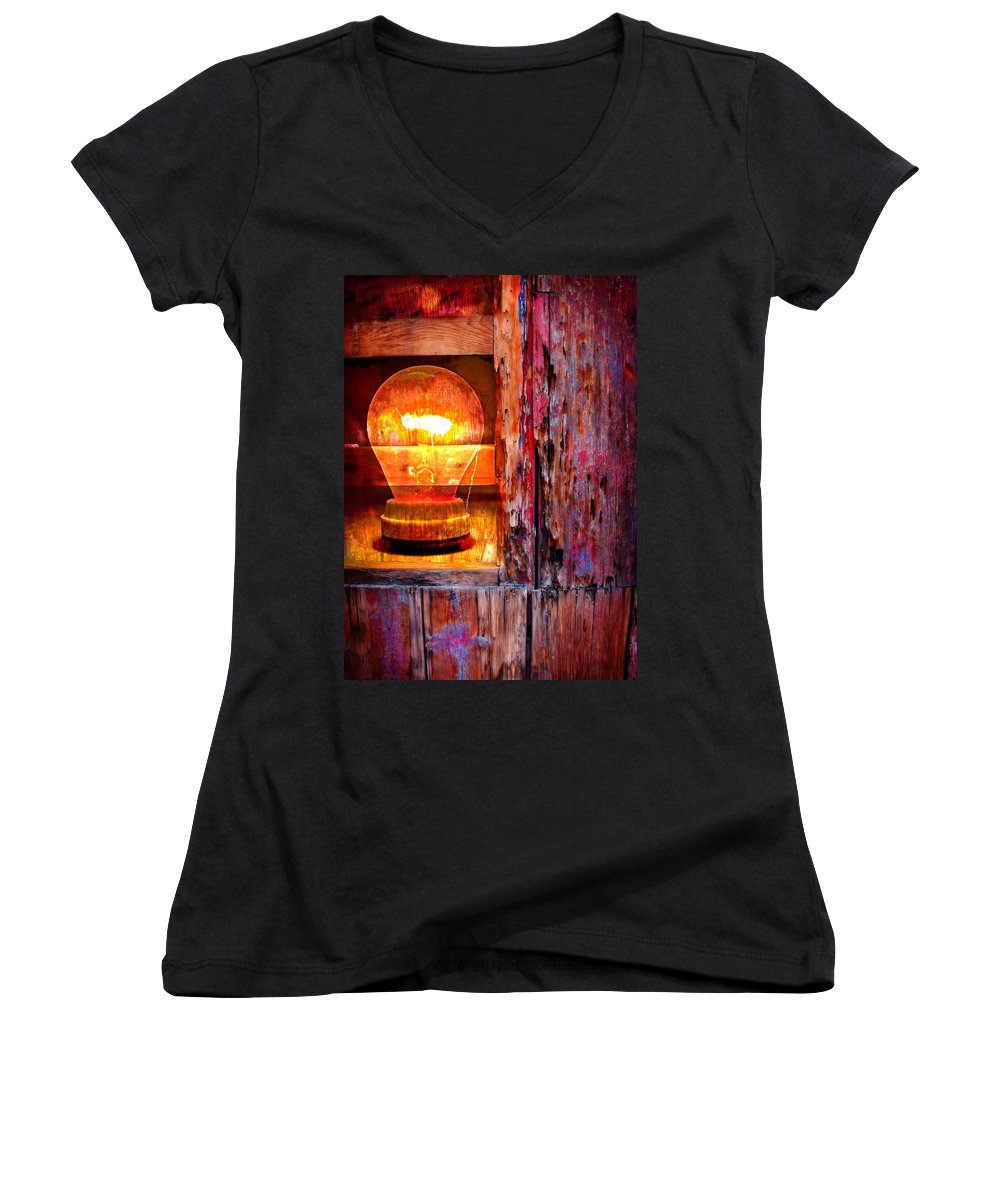 Skip Women's V-Neck T-Shirt featuring the photograph Bright Idea by Skip Hunt