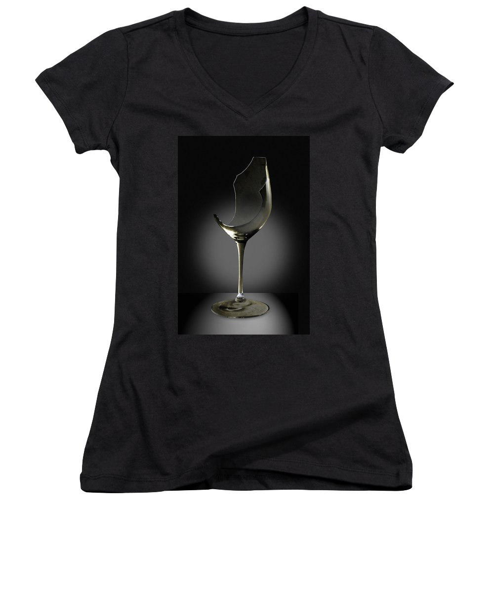 Glassware Women's V-Neck T-Shirt featuring the photograph Broken Wine Glass by Yuri Lev