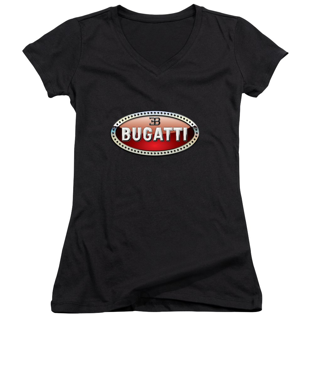 �wheels Of Fortune� Collection By Serge Averbukh Women's V-Neck featuring the photograph Bugatti - 3 D Badge on Black by Serge Averbukh
