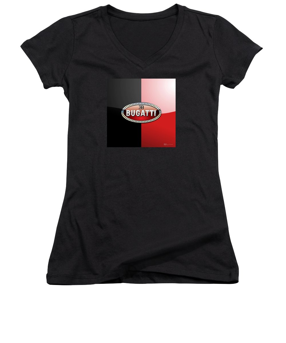 Wheels Of Fortune By Serge Averbukh Women's V-Neck featuring the photograph Bugatti 3 D Badge On Red And Black by Serge Averbukh