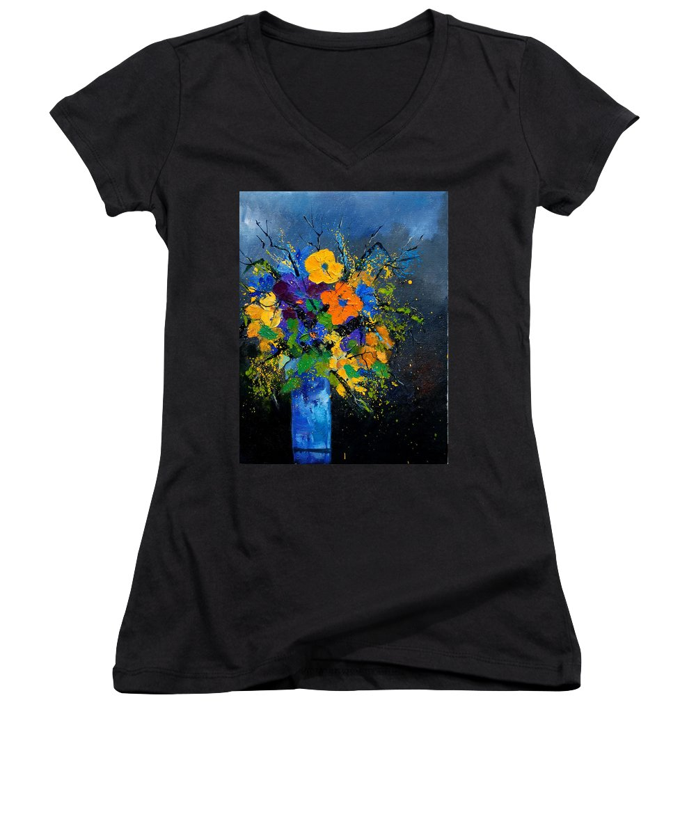 Poppies Women's V-Neck T-Shirt featuring the painting Bunch 1007 by Pol Ledent