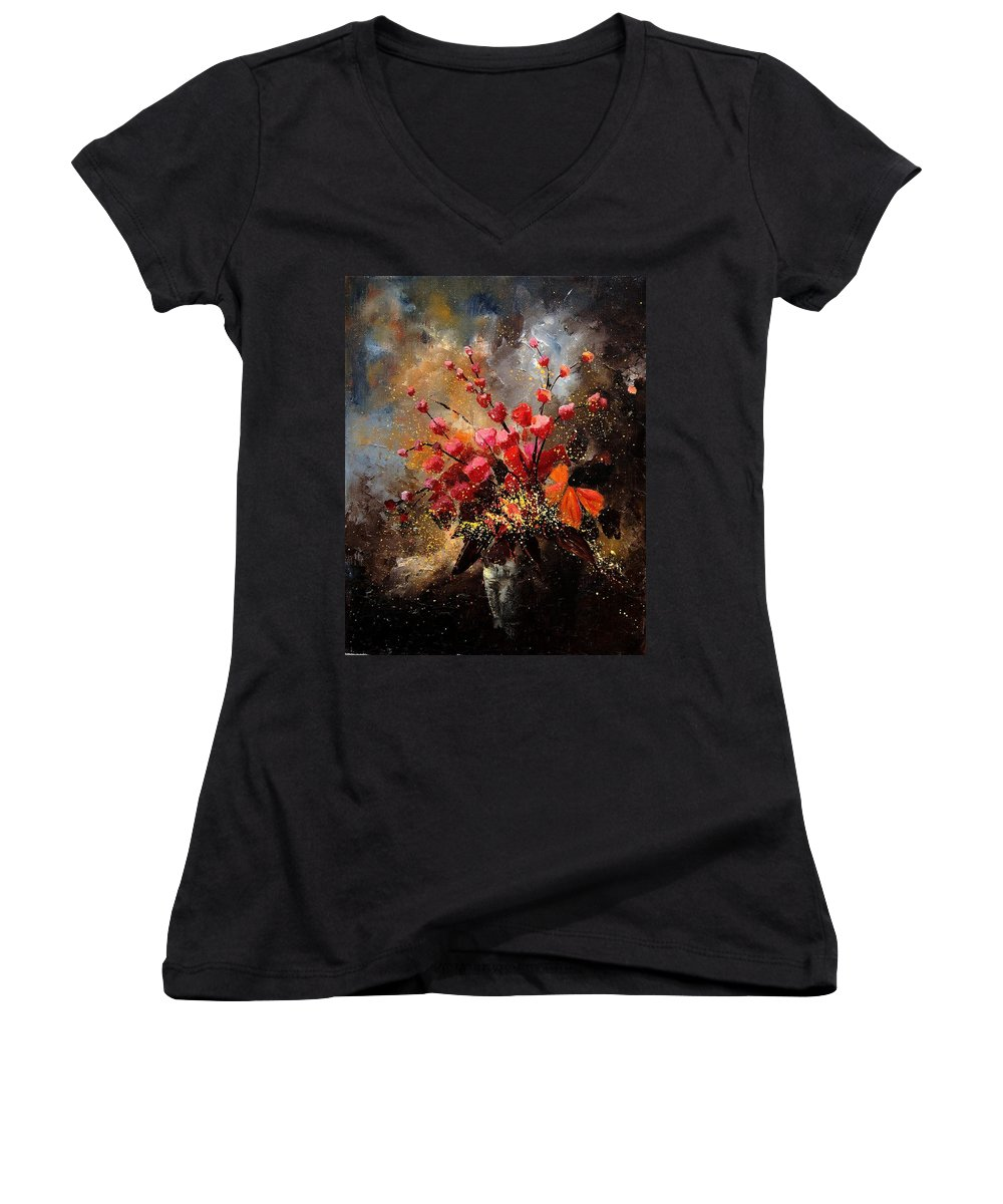 Poppies Women's V-Neck T-Shirt featuring the painting Bunch 1207 by Pol Ledent