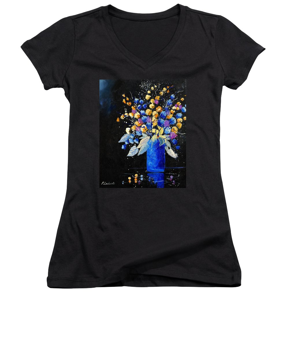 Flowers Women's V-Neck (Athletic Fit) featuring the painting Bunch 451008 by Pol Ledent