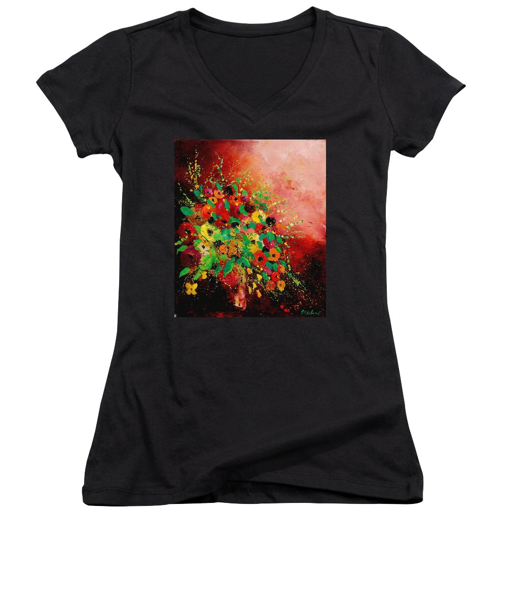 Flowers Women's V-Neck (Athletic Fit) featuring the painting Bunch Of Flowers 0507 by Pol Ledent