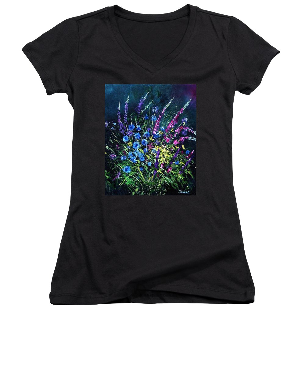 Poppies Women's V-Neck T-Shirt featuring the painting Bunch Of Wild Flowers by Pol Ledent