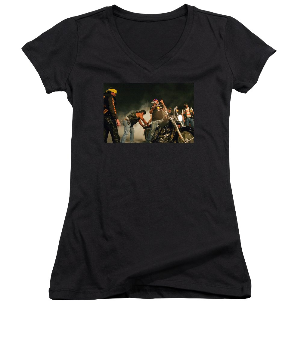 Biker Women's V-Neck (Athletic Fit) featuring the photograph Burn Out by Skip Hunt