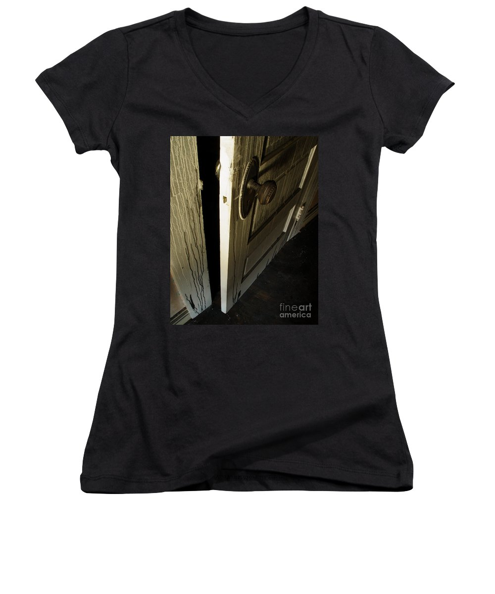 Ghostly Women's V-Neck (Athletic Fit) featuring the photograph Burned Knob 02 by Peter Piatt