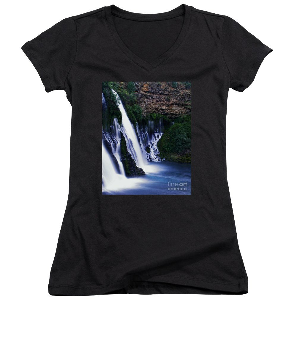 River Women's V-Neck (Athletic Fit) featuring the photograph Burney Blues by Peter Piatt