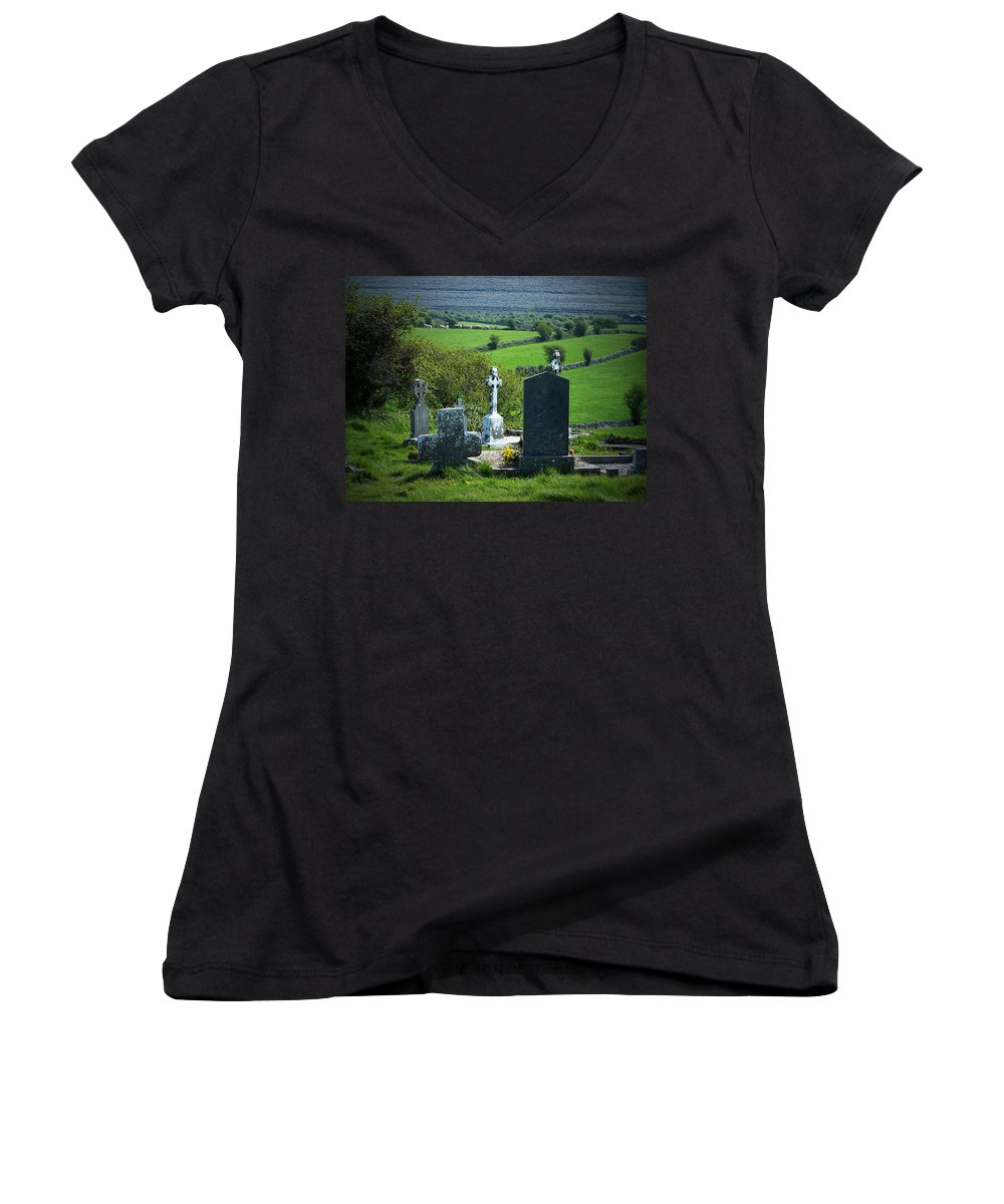 Irish Women's V-Neck (Athletic Fit) featuring the photograph Burren Crosses County Clare Ireland by Teresa Mucha