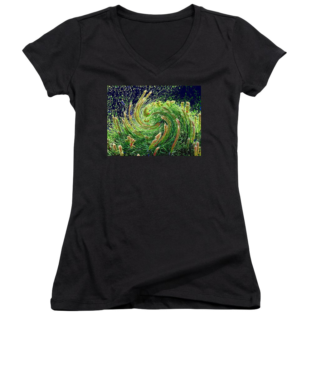 Pine Women's V-Neck T-Shirt featuring the photograph Bush In Transition by Ian MacDonald