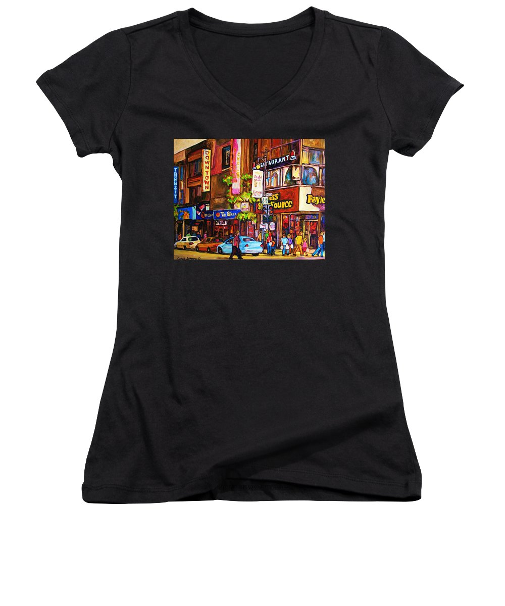 Cityscape Women's V-Neck (Athletic Fit) featuring the painting Busy Downtown Street by Carole Spandau