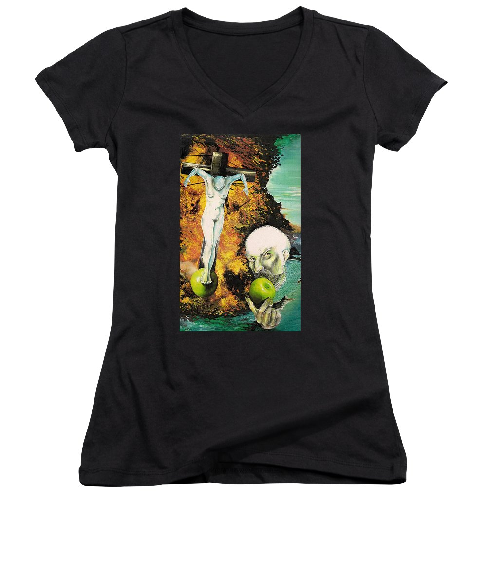 Lust Temptation Crucifix Hell Inferno Heaven Water Woman Sex Lust Apple Fire Women's V-Neck T-Shirt featuring the mixed media But For Lust... by Veronica Jackson