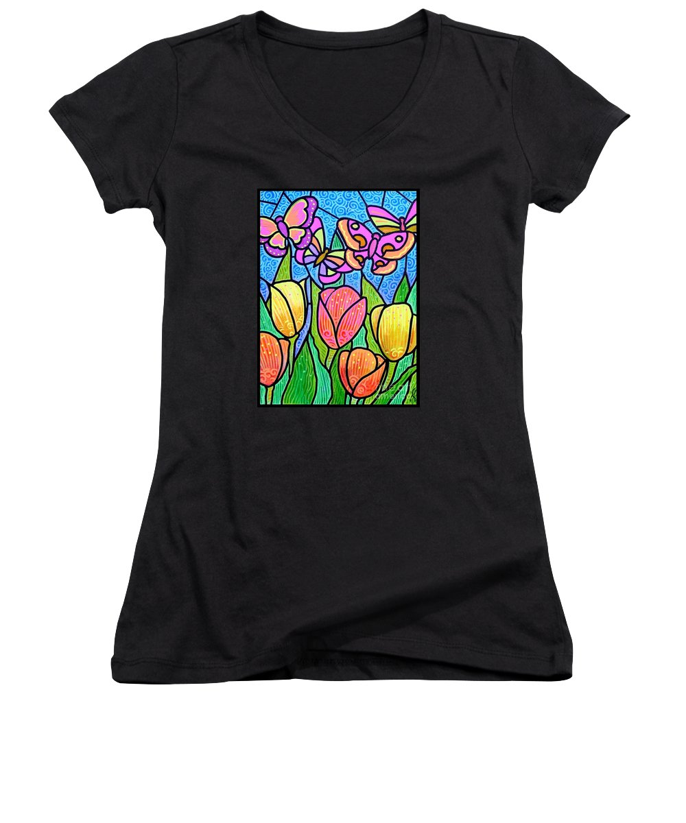 Butterflies Women's V-Neck (Athletic Fit) featuring the painting Butterflies In The Tulip Garden by Jim Harris