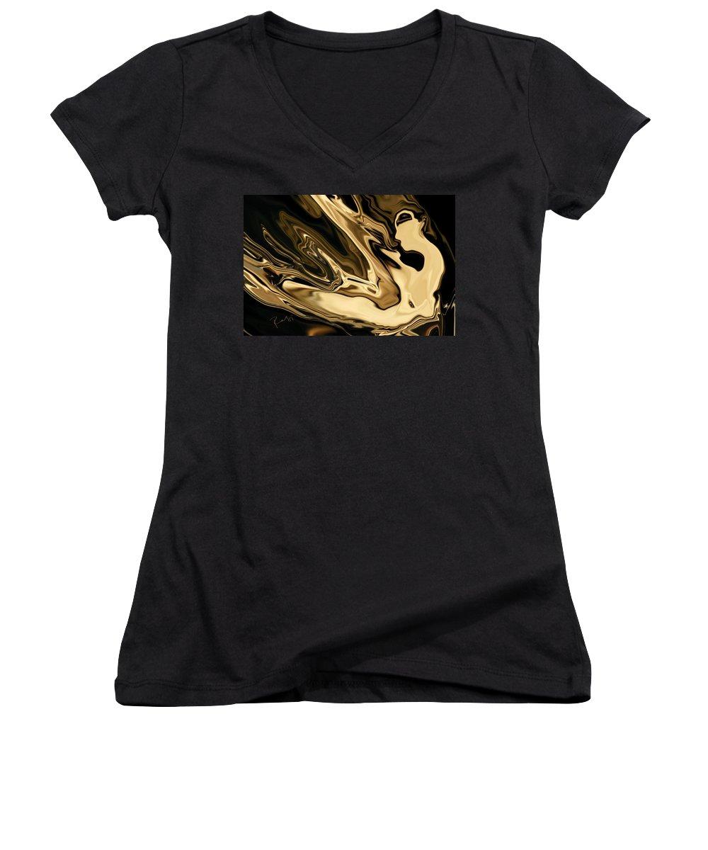 Abstract Women's V-Neck T-Shirt featuring the digital art Butterfly Girl 3 by Rabi Khan